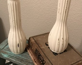 2 Distressed Hand Painted Glass Vases