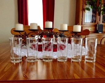 Vintate Etched Glass Drinking Glasses