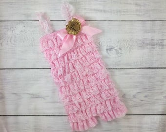 Pink & Gold Lace Romper 1st Birthday Outfit Baby Cake Smash Photo Prop Flower Girl Dress