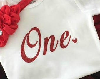 1st Birthday Girl IRON ON Transfer Decal Heat Transfer Red Glitter One Heart Birthday Party Iron On