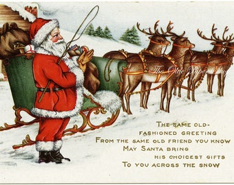 Antique Santa Claus and Reindeer Whitney Vintage Christmas Postcard Lightly Embossed