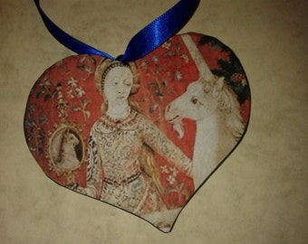 Art on a Heart. The Lady and the Unicorn Tapestry on Hanging wooden Heart