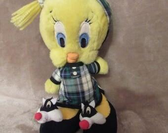 Vintage Tweety Plush with Sylvester Slippers - Vintage Looney Tunes Plush - 1995 - EUC