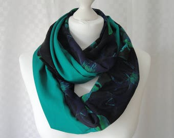 Teal green infinity scarf, Circle scarf, Plain colourful scarf, Scarf for her, Lightweight scarf, Fashion scarf