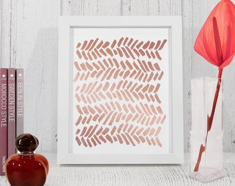 Rose Gold Abstract Lines Print, Rose gold Abstract Wall art, Printable abstract brush strokes, Modern rose gold poster - instant download