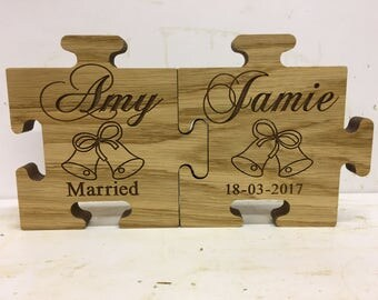 Wedding bride and groom Carved unique oak veneer keepsake
