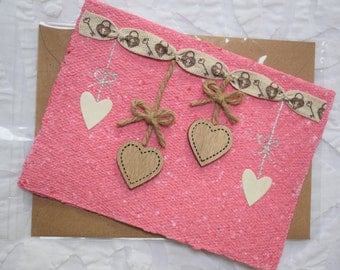 Homemade Recycled Love Card, Wooden Hearts