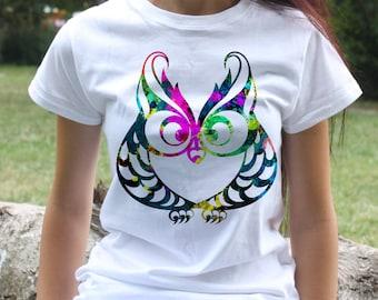 Cute Owl T-shirt - Bird Tee - Fashion women's apparel - Colorful printed tee - Gift Idea