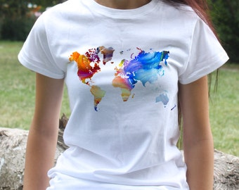 Map of the World Tee - Art T-shirt - Fashion women's apparel - Colorful printed tee - Gift Idea