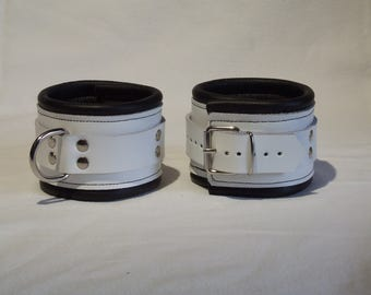 Leather ankle cuffs, genuine leather, soft padded, white black