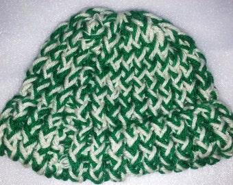 Green & White Preemie/Newborn Hat