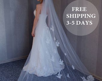 Ivory veil with beaded, Church veil, Veil for Cathedral, Cathedral Wedding veil, One tier veil, lace wedding veil, FREE SHIPPING 3-5 DAYS!!!