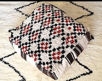 Vintage Moroccan Graphic Wool Floor Pillow