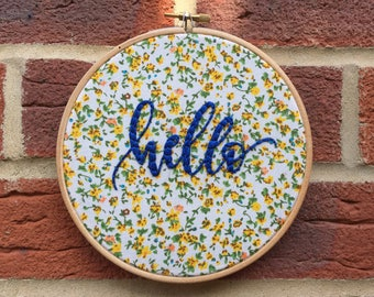 Hello Embroidery,Embroidery hoop, Embroidery art, Hand embroidery,Floral embroidery,Embroidery hoop art,Modern embroidery,Home decor