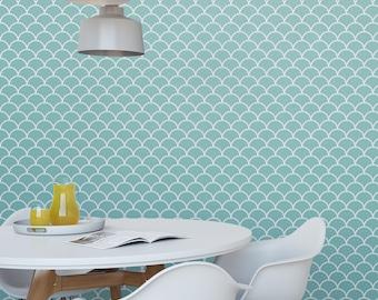 Fish scales aqua removable wallpaper / cute self adhesive wallpaper / scallop geometric temporary wallpaper G177-27