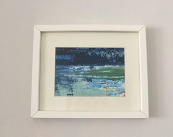 Framed Acrylic painting. Blue, green with gold & glitter.