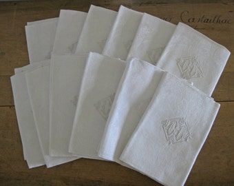 12 French damask napkins with hand embroidered monograms CL