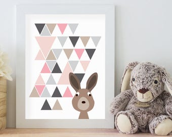 Rabbit Print, 11x14 Digital Download Prints, Wall Art, Girl Nursery, Rabbit Nursery, Playroom, Arbor Grace Collections