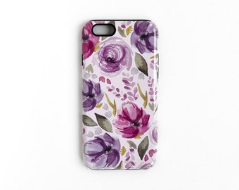 iPhone 7 case / purple iPhone case / floral iPhone case / iPhone case / lavender phone case / unique phone case / watercolor phone case