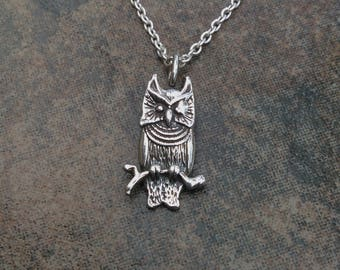 Owl Necklace in Sterling Silver