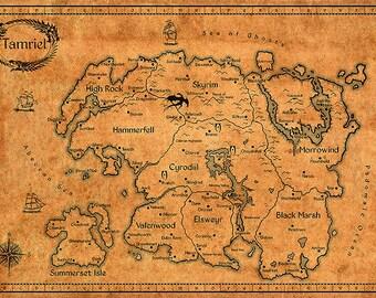 Elder Scrolls Map- Vintage Tamriel Limited Edition