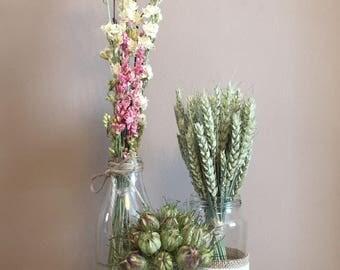 Rustic Wedding centerpiece - Set of 3 Jars