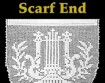 Lyre Lace Scarf End Filet Crochet Pattern