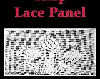 Tulip Lace Panel Filet Crochet Pattern