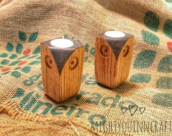 owl tea light candle holder, rustic country, candle holder, country decorations, country style, wood candle holder, owl figurine, owl decor