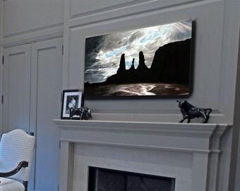 Southwest Decor, Living Room Wall Art, Mountain Scene Art, Rainy Day Art,