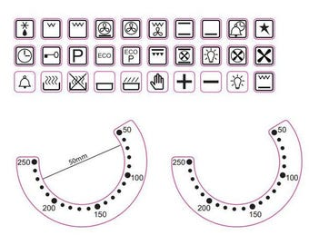 Oven temperature and oven symbol stickers