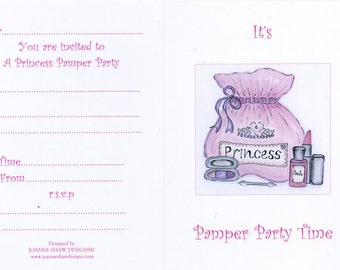 Princess Pamper Party Invitation/Thank You Cards