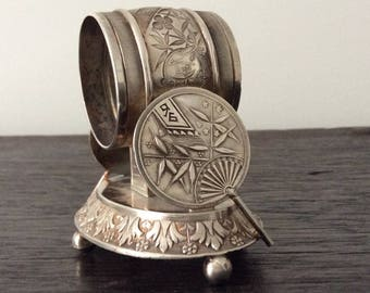 Victorian Silver Napkin Ring Holder / Meriden Silver Plate / Asian / Chinese / Japanese Motif / Home Decor #208