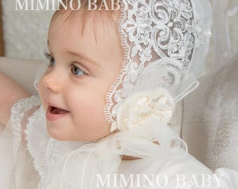 VARONIKA christening bonnet, christening hat, baptism bonnet, white lace bonnet, christening gift, girls baby bonnet, christening outfit