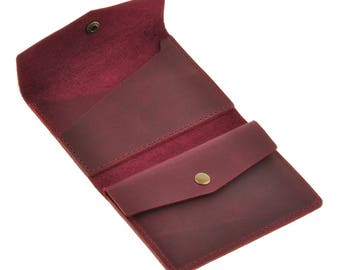 Leather wallet 2.0, with metal button. Purple colour