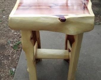 Handmade Cedar log end table.