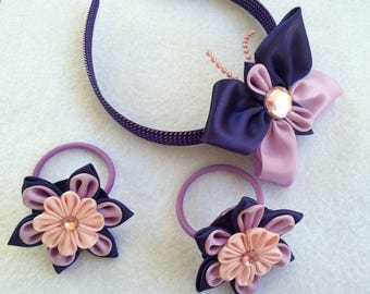 Spring Butterfly Set: Pair of Butterfly ponytail holders and Butterfly Headband