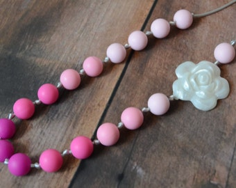 Silicone Teething Necklace - Pretty in Pink Knotted Flower - Free Shipping