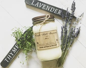 LAVENDER-THYME, soy wax candle, highly fragrant , clean, hand poured, all natural, mason jar candle, garden, thyme, herbal, lavender, relax
