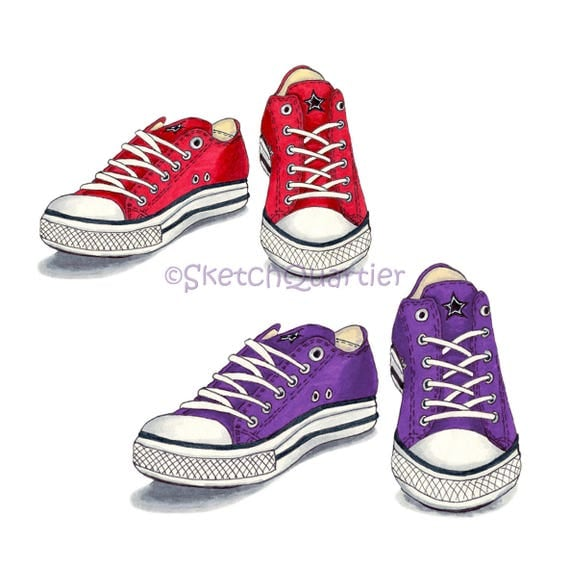 converse shoes clipart. red and purple converse shoes digital clipart with transparent background for instant download. h