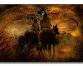 Fine Art Print  of 'Three Warriors'. Native American Indian. American West, cowboy, landscape, eagle, horse rider, wall decor, JoWalshArt