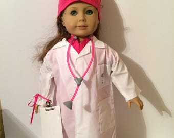 18 Inch Doll Clothes Hot Pink White Doctors Lab Coat and Scrubs 8 Piece Outfit Also Fits Like American Girl Doll Clothes