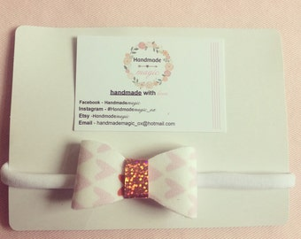 Fabric Bow on White Nylon headband