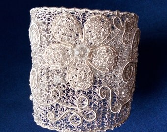 Silver plated crocheted wire cuff flower bracelet