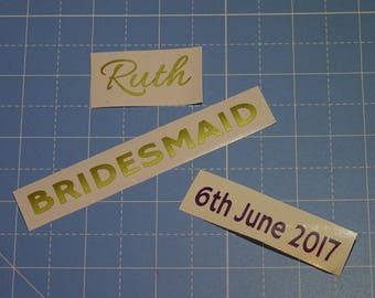 Wedding hanger sticker set, personalised decal with name, date and role | Custom Vinyl Lettering