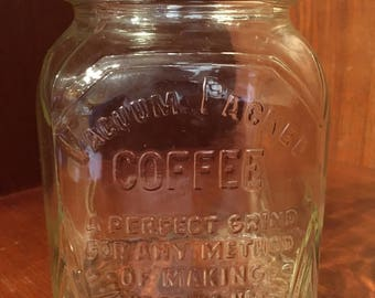 Vintage/Antique Glass Coffee Jar/Storage Container/Canister.