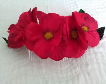Flamenco flowers, red flowers, comb with flowers, wedding, bridesmaid, godmother wedding, gift, Mother's day, hair flowers,