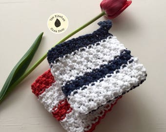 AHOY Knit Cloth Set of 2 | Hand knit | Cotton | Kitchen | Dishcloth | Washcloth | Eco friendly | Reusable