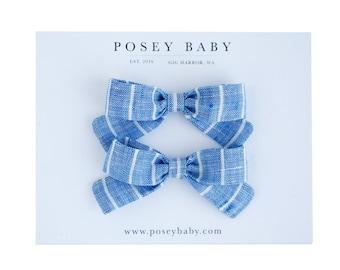 Pigtail Bow Set | Ocean Stripe | Linen Baby Headbands & Bows