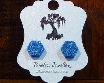 Blue Hexagon Earring Studs